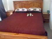 QUEEN SIZE BED & MATTRESS WITH TALL BOYS AN SIDE TABLES