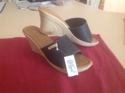 Ladies size 6.5 black wedge sandals
