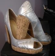 Designer (Robert Robert )silver / cork platform high heels
